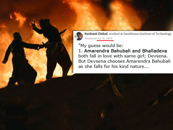 One Quora user predicted the same accurate story of Baahubali 2