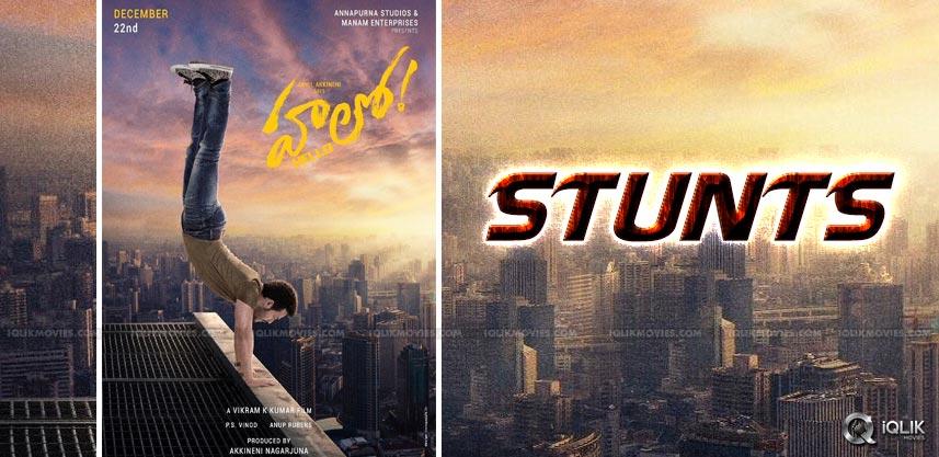akhil-stunts-for-his-movie-hello