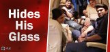 chiranjeevi-hides-his-glass-while-on-flight
