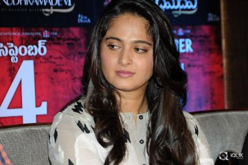 Anushka at Rudramadevi Movie Release Date Press Meet